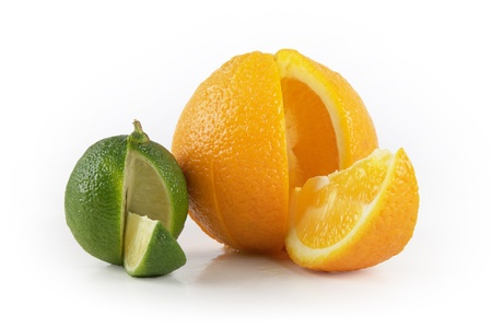 zesty: Lime and orange with slice Stock Photo