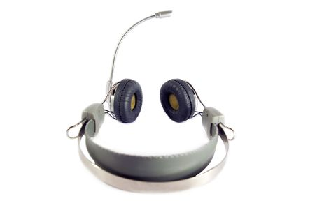 earphones with microphone head-sets with white background Stock Photo