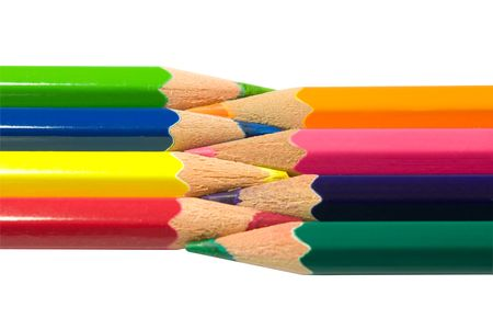 Assortment of coloured pencils with shadow on white background Stock Photo