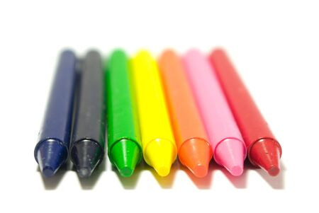 varicolored crayons with clean pure white background