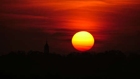 Closeup of Sunrise Time Lapse with Church Silhouette in Belgrade, Serbia. Colorful Cloudscape over the Cathedral of St. Michael the Archangel Serbian Orthodox Church (Saborna crkva) in Beograd Downtown. High quality 4k footage