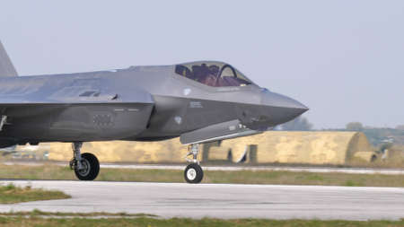 Andravida Greece APRIL, 03, 2019 Lockheed Martin F-35A Lightning II stealth multirole combat aircraft of Italian Air Force Editorial