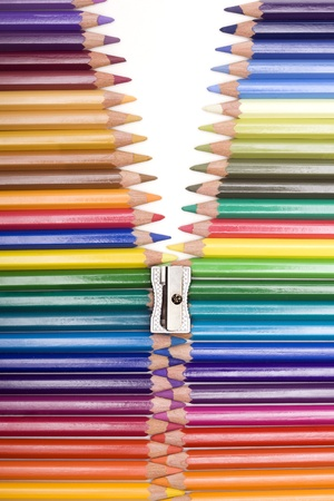 range of colors with pencils forming a zipper photo