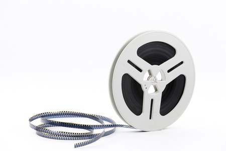 Super 8 film reel on a white background