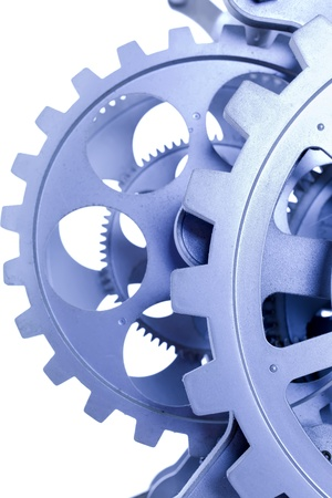 gears of a clock in blue, photographed with a macro lens Stock Photo
