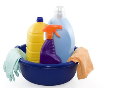 household objects equipment: container with three cleaning products, gloves and cloth
