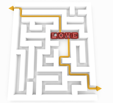 romance strategies: maze with the word love and arrow pointing the way