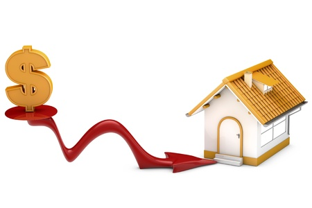 housing crisis: metaphor for the housing crisis, dollar sign, low price and arrow marking house. Designed in 3D.