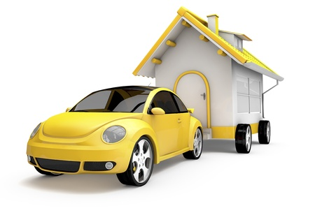 yellow car dragging a house on wheels, designed in 3d
