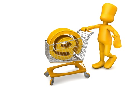 person with a shopping cart, just bought an Internet domain