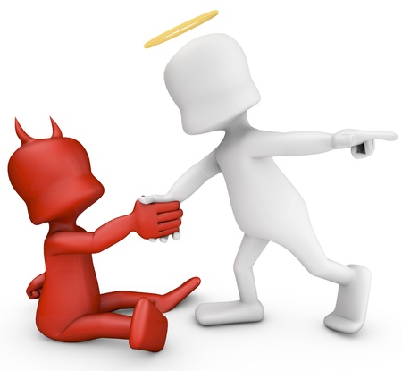 devil and angel: Angel helping a demon to rise  3D image generated  Stock Photo