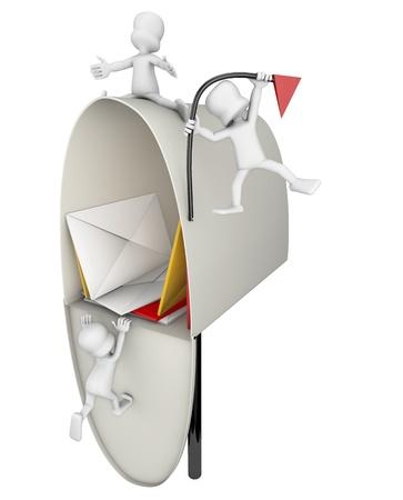 atacaba: abierto buz�n lleno de cartas que est�n siendo atacados por algunos personajes,