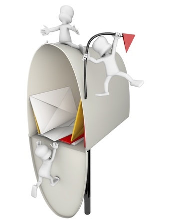metal mailbox: open mailbox full of letters being attacked by some characters, Stock Photo