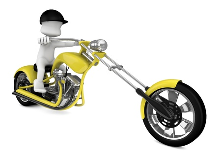 yellow chopper motorcycle driven by a character made   in 3d