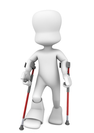 3d character leaning with crutches because he has a broken ankle photo