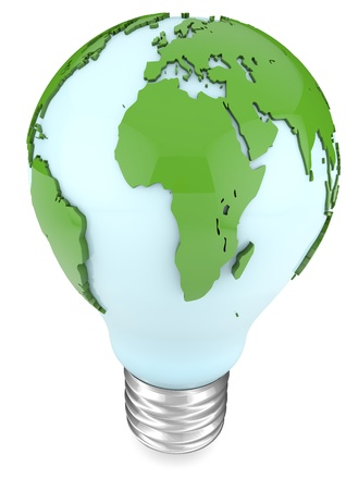 3d illustration of a blue bulb with world map around  Stock Photo
