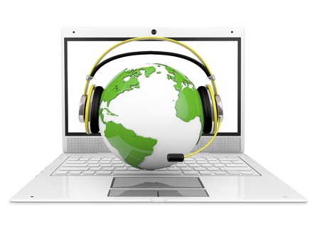 globe with headphones, over a laptop, 3d generated, business metaphor, helpline, call center, etc  Stock Photo