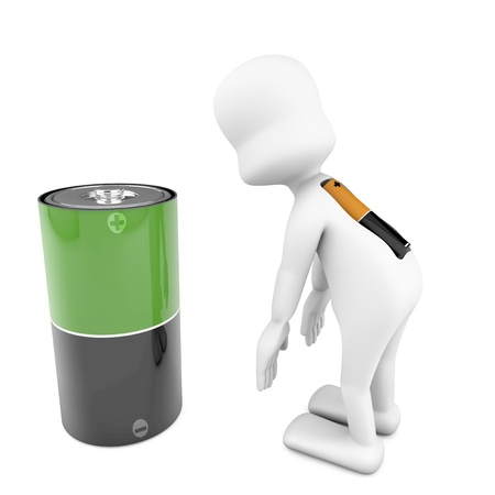 3d character with dead batteries in position tired metaphor of stress, tired, exhausted