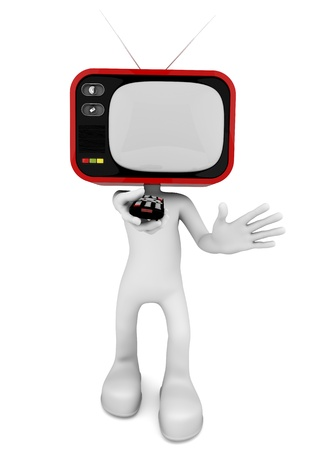 changing channels: 3d character with old TV head making changing channels with the remote control