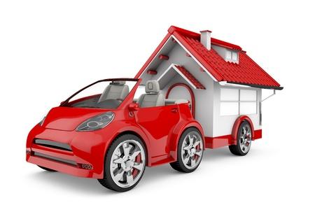 red car dragging a wheeled house, caravan metaphor, traveler, vacation  3d image