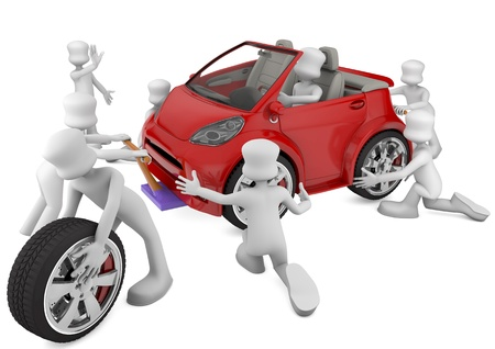 inspection: mechanical fixing a red car  3d rendered image