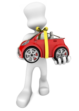 3d character delivering a gift car