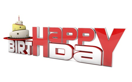 text 3d: 3d picture with birthday cake  cake with candle and red and white text