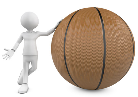 3D basketball player holding the ball isolated over a white background photo