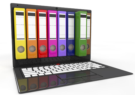 organize: file in database - laptop with colored ring binders, 3d image