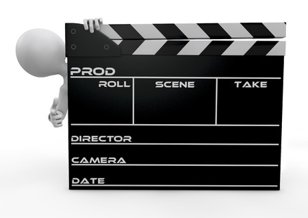 human character and a clapperboard Stock Photo - 24027689