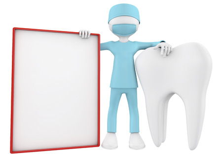 3d imafe of dentist, a tooth and blank placard