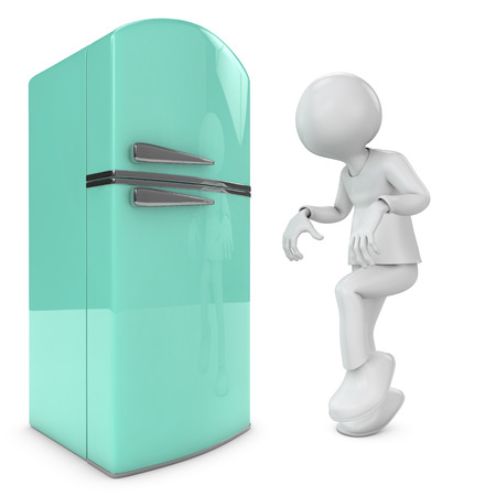 sleepwalker: man walking quietly to the fridge  metaphor for diet, sleepwalking, gluttony  3d image