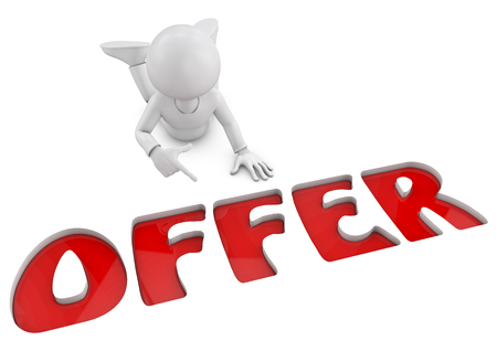 promo: 3D character pointing offer word on white isolated background