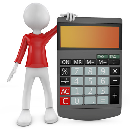 3d small people with the calculator  3d image  Isolated white background  Stock Photo