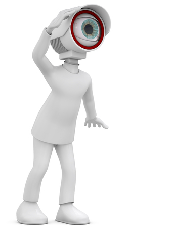 3d man security camera surveillance on white background photo