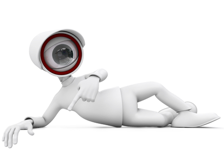 3d man security camera surveillance lying and pointing on white background Stock Photo