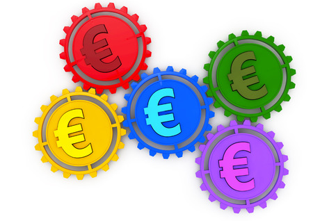 Money concept 3d icon with five gears and euro colored sign, business or economy metaphor, photo