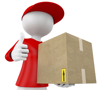 3d people - man, person with a package and doing ok symbol  Postman, delivery