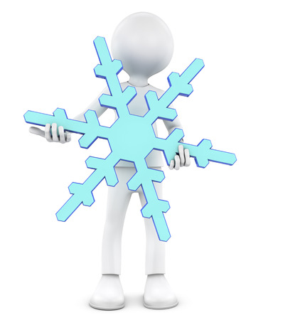 3d Person hold snowflake photo