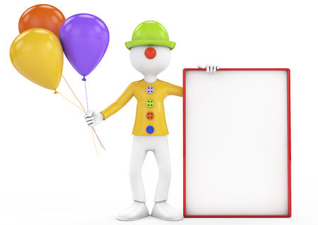 3d people - clown with a blank board and colored ballons  Stock Photo