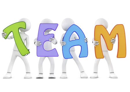 3d people holding hands in the word  team   3d image  Isolated white background  photo