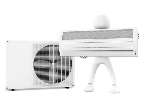 cooling: 3d man and air conditioning unit on white background Stock Photo