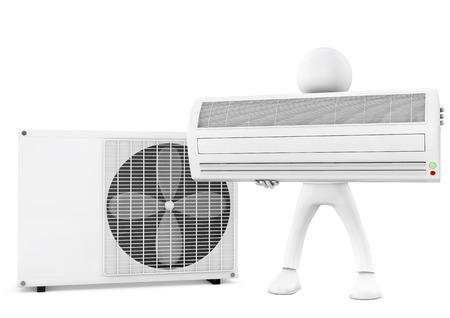 compresor: Hombre 3d y unidad de aire acondicionado en el fondo blanco