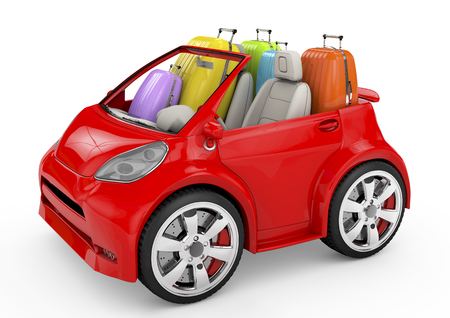 4wd: 3d red car and suitcases -travel concept Stock Photo