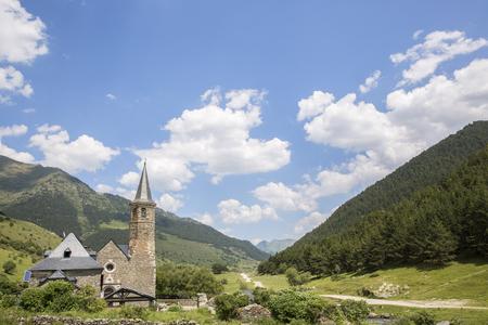 skie: Sanctuary of Mongarri in sunny day. Spanish pyrenees, Catalonia, Lleida, Spain
