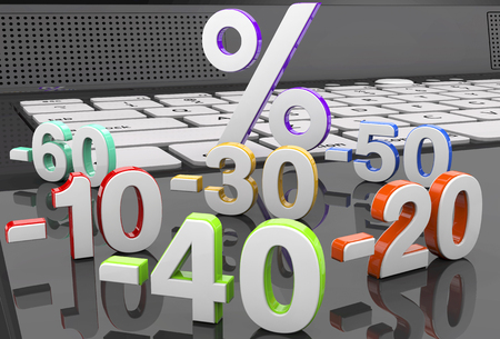 calculation: Discount and sale symbols: 10 20 30 40 50 60 Stock Photo