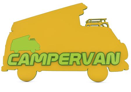 campervan: 3d logo, silhouette of campervan with campervan text