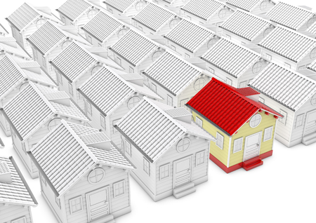 standout: Different white house and one red house, 3d rendered picture. metaphor of search house, property, village etc.