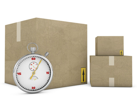 rapidity: Express delivery. Stopwatch and package on white background. 3d