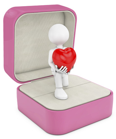 open your heart: man in to a open box ring making a marriage proposal, whith a big heart in your heands. Stock Photo